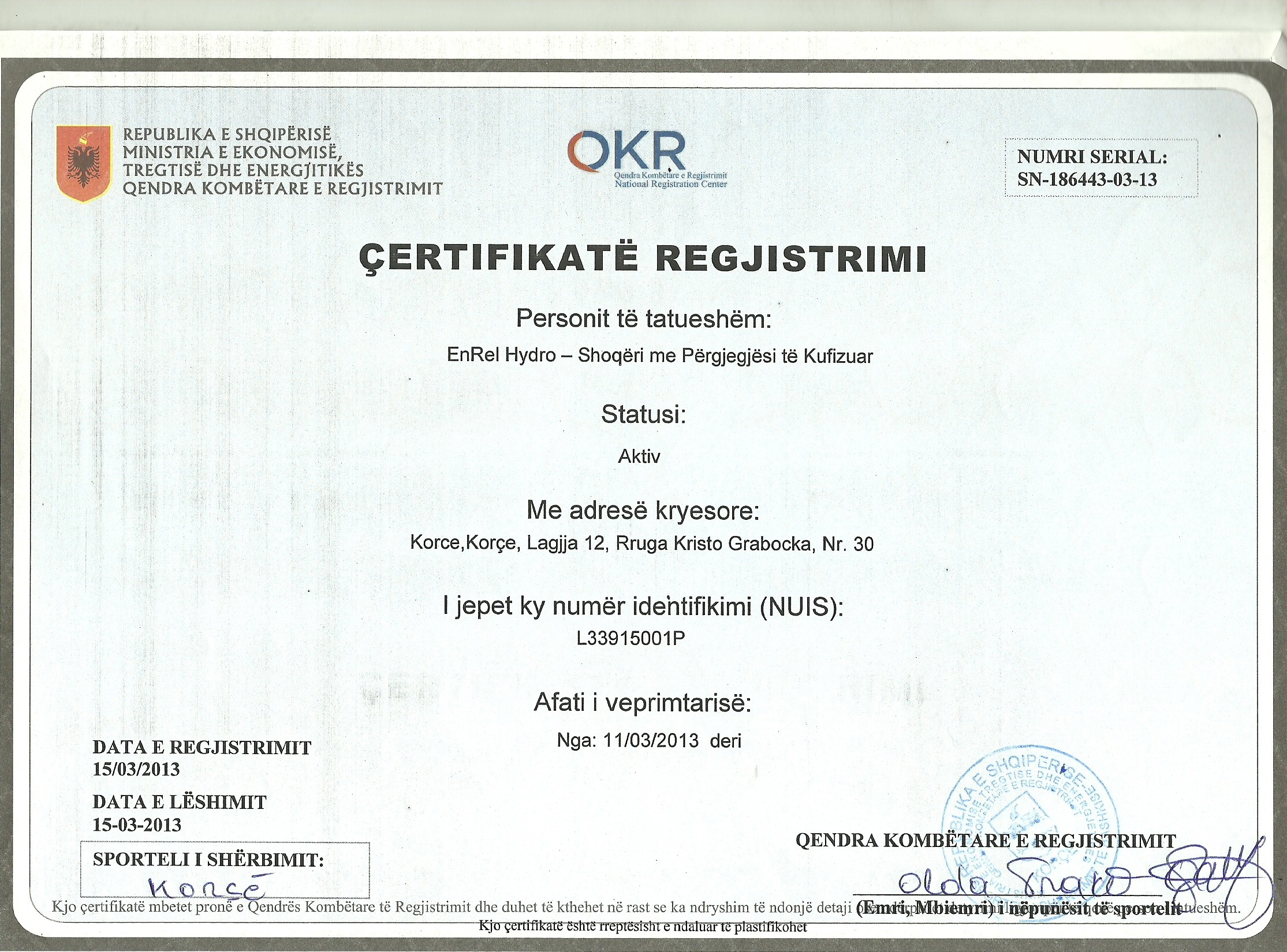 Business opportunities by enrel hydro ltd certificate and registration certificate location of xflitez Gallery